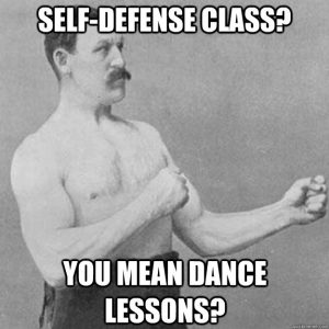 Overly Manly Man puts his dukes up ready for a fight