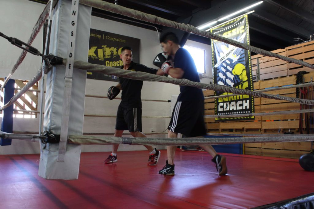 Working with a boxing coach