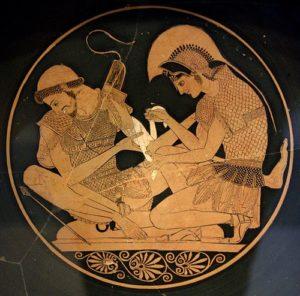 Achilles aiding his wounded friend Patroclus